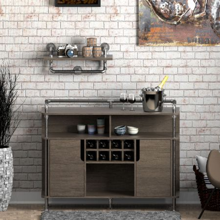 Industrial Pipe Wine Cabinet Combined With Sideboard - Industrial Pipe Wine Cabinet Combined With Sideboard