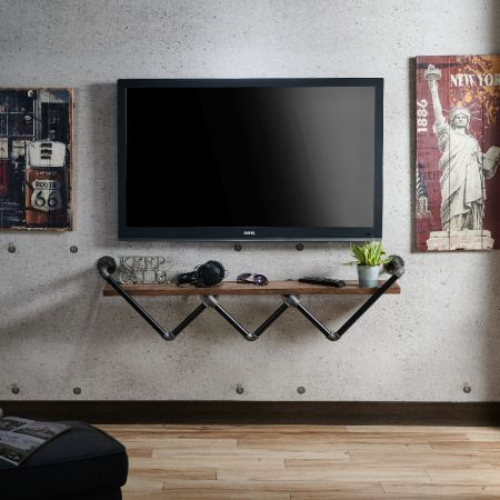Industrial Style Pipe 120cm Long shelf Similar To TV Cabinet - Industrial Style Water Pipe 120cm Long shelf Similar To TV Cabinet