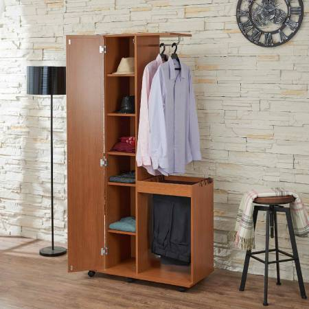 Light Walnut Mobile Wardrobe - Mobile wardrobe fitted with crossbar