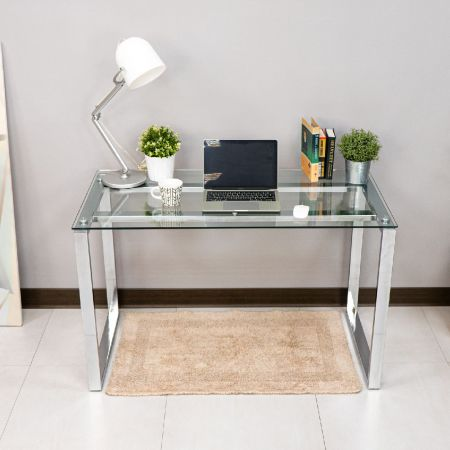 Plated Square Tube Tempered Glass Desk - Plated Square Tube Tempered Glass Desk
