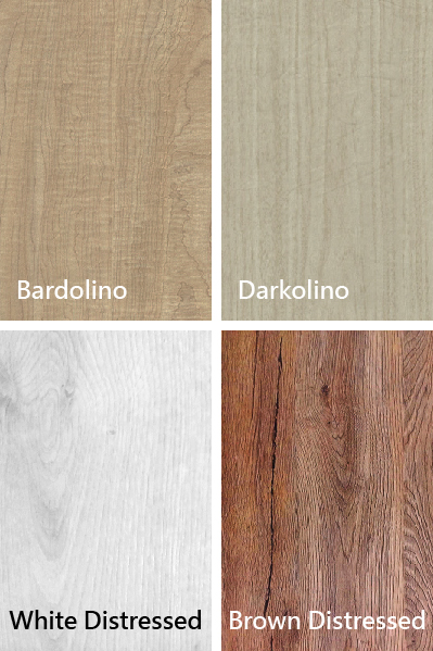 Bardolino 、 Darkolino 、 Biały Distressed 、 Brown Distressed