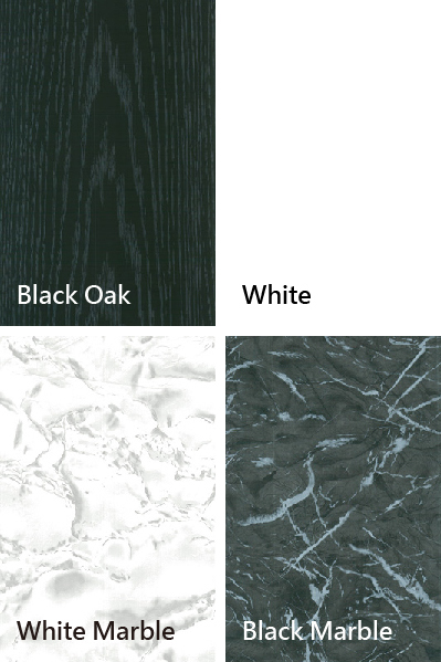 Black Oak、White、White Marble、Black Marble