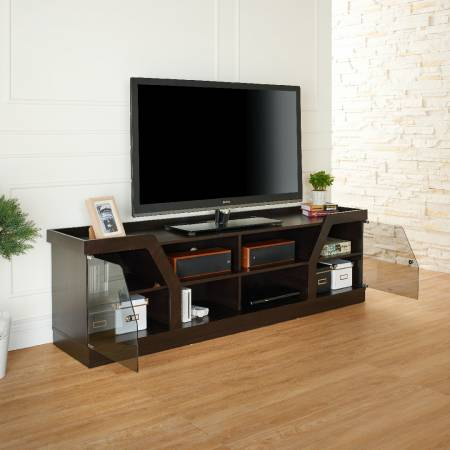A TV stand shaped like a tortoise shell.