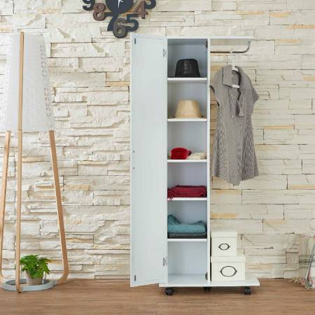 White Simple Mobile Wardrobe - Semi-open minimalist wardrobe