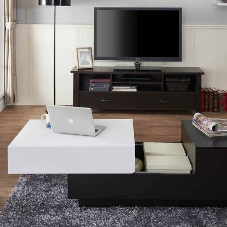 Black and White Square Living Room Table - Furniture black and white square performance table.