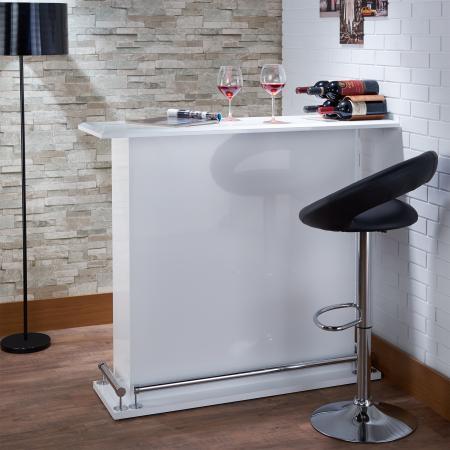 Table de bar de qualité lumineuse et blanche - Papier stratifié brillant et blanc, s'adapte à tout ce qui est blanc, il est facile à nettoyer.