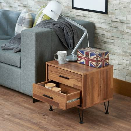 British Style Modern Woody Side Table - England side table, wooden side table, two drawers.