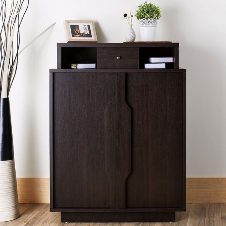 Shoes Cabinet - A drawer, laminated storage space, handle a special shape, entrance, dark brown.
