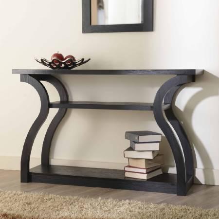 Konsola - Wąski wysoki stolik w kształcie serca, w kolorze ciemnobrązowym.