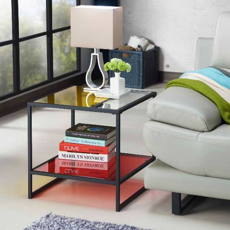 Colorful Glass Tabletop Rectangle Small Night Stand - Adequate night stand height, shining glass tabletop color