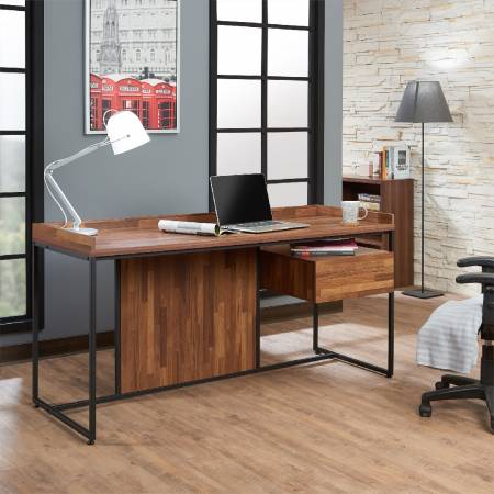Dark Teak Retro Office Desk - Deep teak color (reclaimed teak) broad desktop.