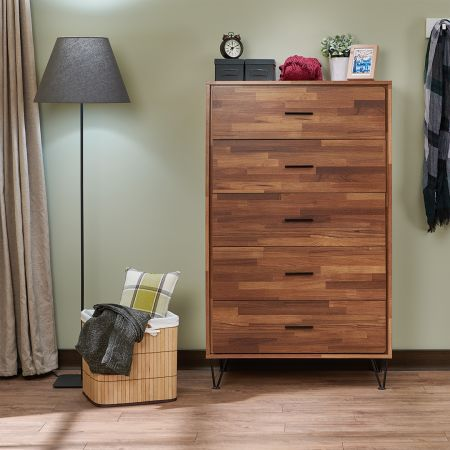 Decorated Modern Reclaimed Teak Chest Of Drawers - Decorated Modern Reclaimed Teak Chest Of Drawers