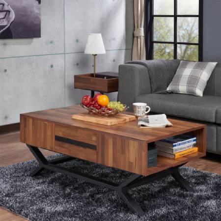 Diamond Rhomboid Iron Foot Teak Coffee Table - Diamond styling coffee table.