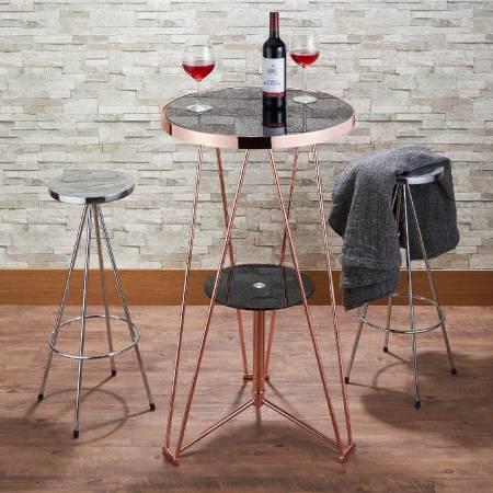 Tavolo da tavolo industriale Wind Bar in vetro - Tavolo in oro rosa con tavolo alto in vetro nero texture.