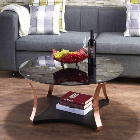Golden rose and black glass tabletop coffee table - shows a kind of low-key but luxury feeling