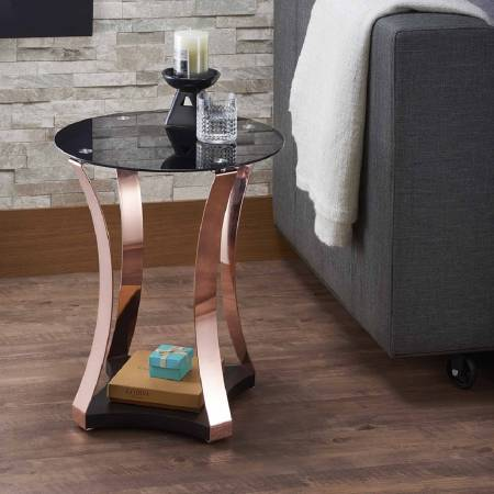 Golden Rose And Black Glass Tabletop Simple Style End Table - 4 golden rose leg posts shows the entire temperament