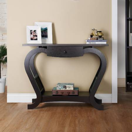 Heart Curve of Console Table - Entrance, high narrow, a drawer, the bottom of the open storage, dark brown.