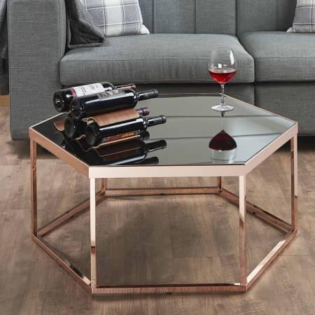سداسية طاولة القهوة الزجاج الأسود - طاولة صوفا جانبية ، مكتب سداسي ، طاولة من الذهب الوردي ، شعور بالجودة ، براعة رائعة