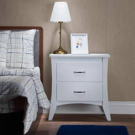 High Textured Bright White Color Side Table (Night Stand) - The bright white side table is very good matches all furniture in the home