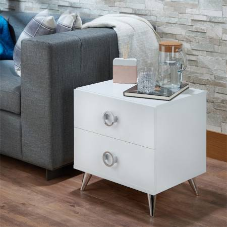 High Textured White With Silver Feet - A side table full of modern sense (Night stand)