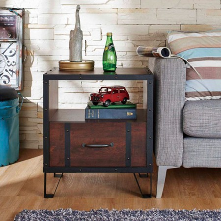 Wanult veneer double layers night stand - Low-cost high-quality industrial side of the table.