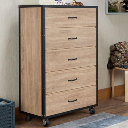 5 layers storage cabinet with wooden veneer style - Light industrial style chest with warm color, show the awesome style of home.