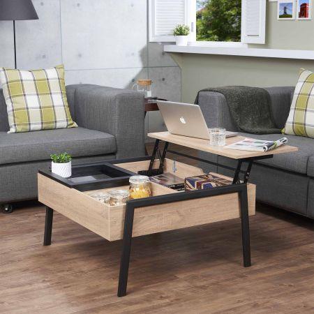 Tavolino da caffè con sollevamento industriale leggero - Tavolino sollevabile industriale leggero.