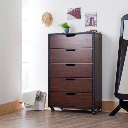 Commode à tiroirs à rivets de style industriel léger