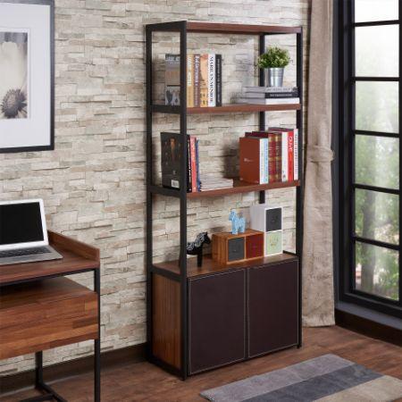 Bibliothèque légère avec cuir - Bibliothèque légère avec cuir