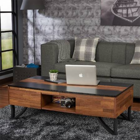 Mix Dark Teak Retro Five Drawers - Klasyczny stolik kawowy.