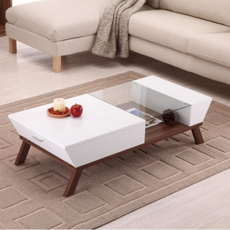 Modern Coffee Table - Table shape showing a sense of neat, interspersed with glass mirror to allow storage space at a glance.