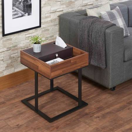 Modern Leather Reclaimed Teak Side Table - Modern Leather Reclaimed Teak Side Table