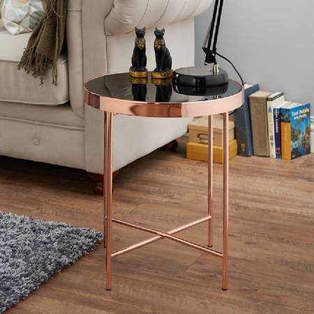 Modern Rose Gold Round Side Table - Safety tempered glass side table