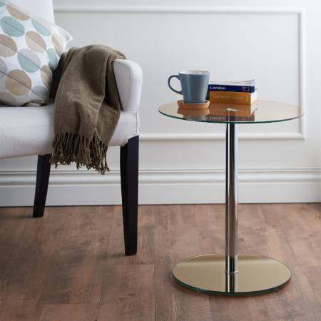 Modern Round Glass Side Table - Modern round glass side table