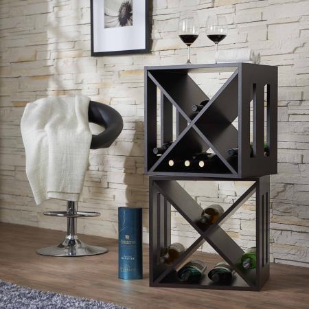 Modern Square Storage Wine Rack - Cross shaped mini wine rack.