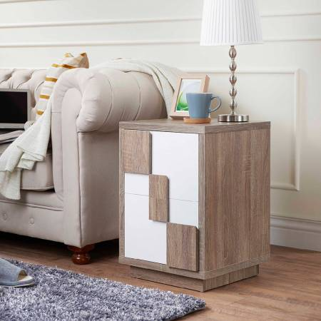Modern Two-Color Geometric Side Table - Geometric side table