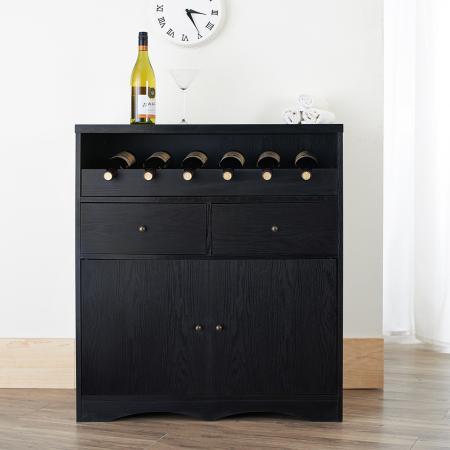 Armoire à vin à plusieurs espaces de rangement - Cave à vin noire brillante à multiples rangements.