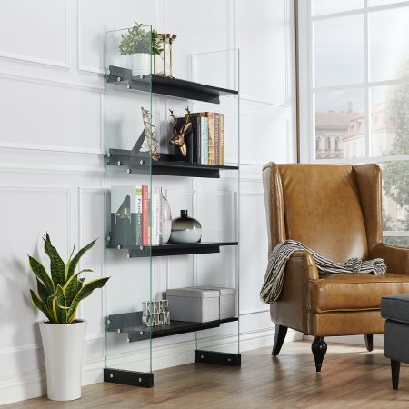 No Backplane Perspective Glass Opened Bookcase