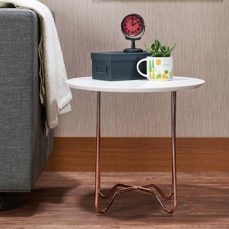 North Europe Round White Side Table (Night Stand) - Side Table Lightweight Good Mobile