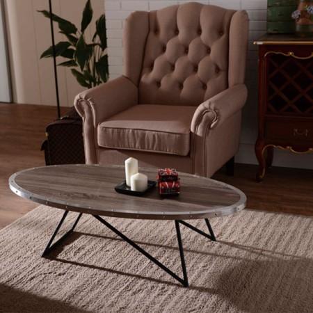 Oval Shape Coffee Desk - Arc rivets irregular modeling geometric tables.