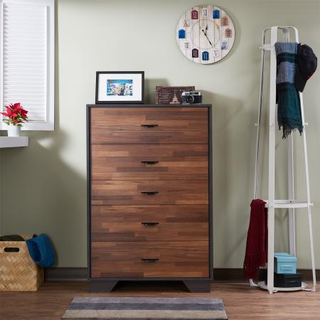 Mezcla Dark Teak Retro Five Drawers - Teca recuperada estilo industrial retro de cinco cajones.