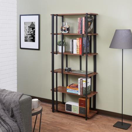 خزانة كتب من خشب الساج الداكن - خزانة الكتب ذات الطراز الصناعي من خشب الساج المستصلحة.