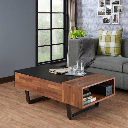 Dark Teak Retro Coffee Table - Reclaimed Teak Retro Industrial Style