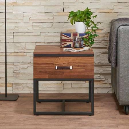 Dark Teak Retro Side Table - reclaimed teak retro industrial style side table