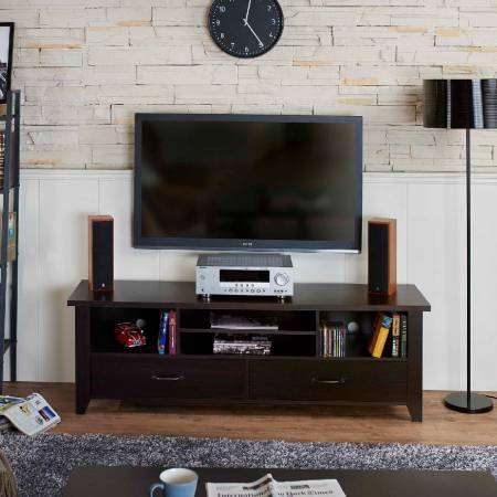 Simple structure functional TV stand - Rectangle design can lean TV stand on the wall easily