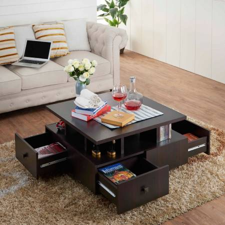 Square Four Sides Drawers Coffee Table - 4 sides drawers coffee table.
