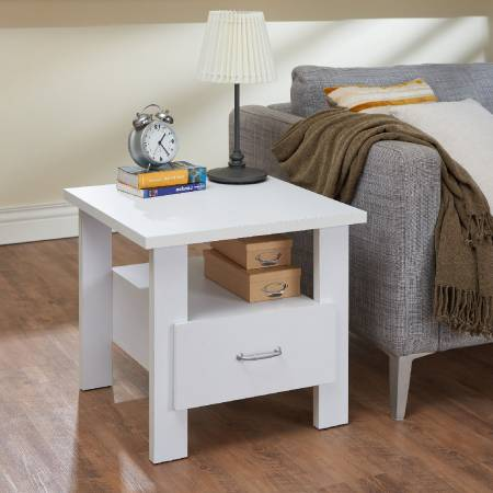 Square Simple Design Bright White Color Side Table - The appearance of square shape is simple and plain