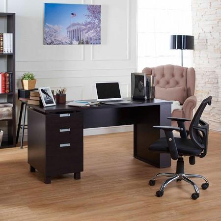 事務机 - オフィス、机、引き出し3つ、ダークブラウン、シンプルな風。