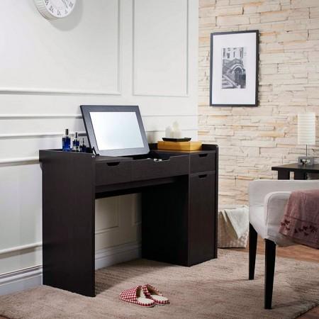 Vanity Table - Mirror, dressing, dark brown, bedroom, four drawers.