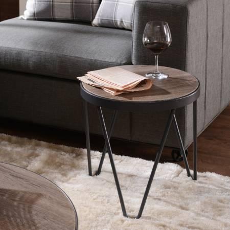 V shape iron foot stool wooden veneer side table - Light, wood side table, industrial wind, round shape.